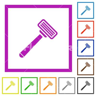Razor flat framed icons - Razor flat color icons in square frames on white background