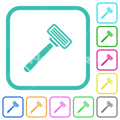 Razor vivid colored flat icons - Razor vivid colored flat icons in curved borders on white background