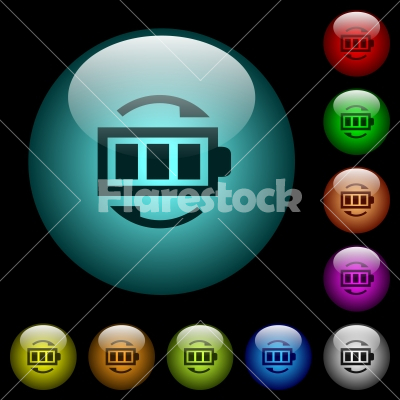 Rechargeable battery icons in color illuminated glass buttons - Rechargeable battery icons in color illuminated spherical glass buttons on black background. Can be used to black or dark templates