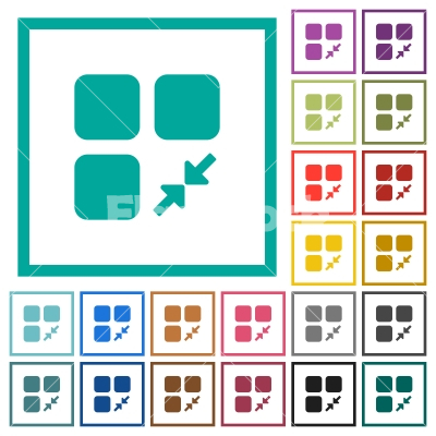 Reduce component flat color icons with quadrant frames - Stock ...
