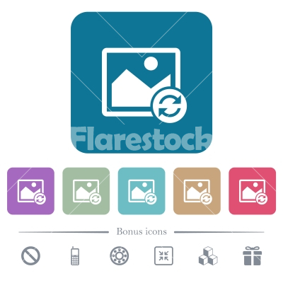 Refresh image flat icons on color rounded square backgrounds - Refresh image white flat icons on color rounded square backgrounds. 6 bonus icons included