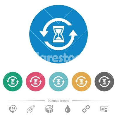 Reload symbol with sandglass flat round icons - Reload symbol with sandglass flat white icons on round color backgrounds. 6 bonus icons included.