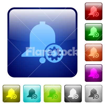 Reminder settings color square buttons - Reminder settings icons in rounded square color glossy button set