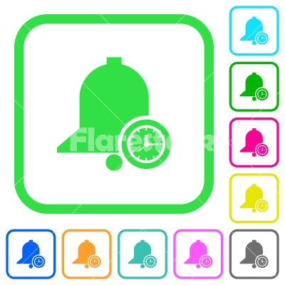 Reminder time vivid colored flat icons - Reminder time vivid colored flat icons in curved borders on white background