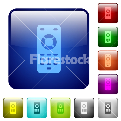 Remote control color square buttons - Remote control icons in rounded square color glossy button set