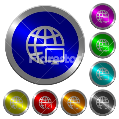 Remote terminal luminous coin-like round color buttons - Remote terminal icons on round luminous coin-like color steel buttons