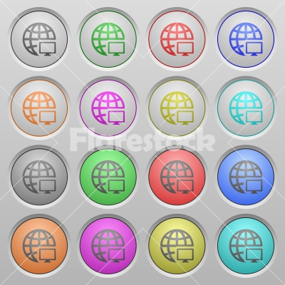 Remote terminal plastic sunk buttons - Set of remote terminal plastic sunk spherical buttons. - Free stock vector