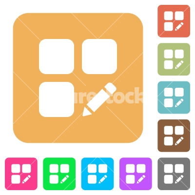 Rename component rounded square flat icons - Rename component flat icons on rounded square vivid color backgrounds.