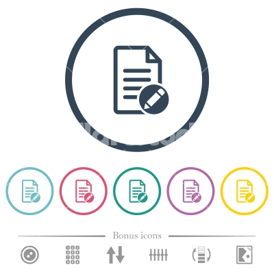 Rename document flat color icons in round outlines - Rename document flat color icons in round outlines. 6 bonus icons included.