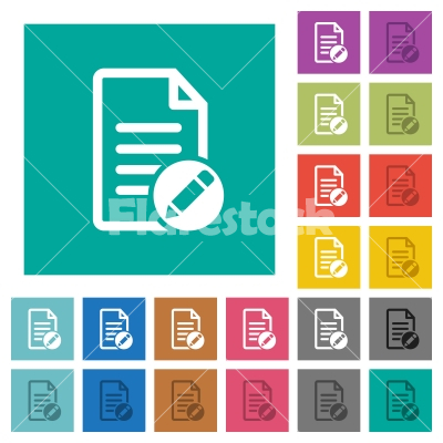 Rename document square flat multi colored icons - Rename document multi colored flat icons on plain square backgrounds. Included white and darker icon variations for hover or active effects.