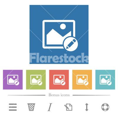 Rename image flat white icons in square backgrounds - Rename image flat white icons in square backgrounds. 6 bonus icons included.