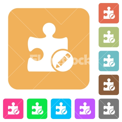 Rename plugin rounded square flat icons - Rename plugin flat icons on rounded square vivid color backgrounds.