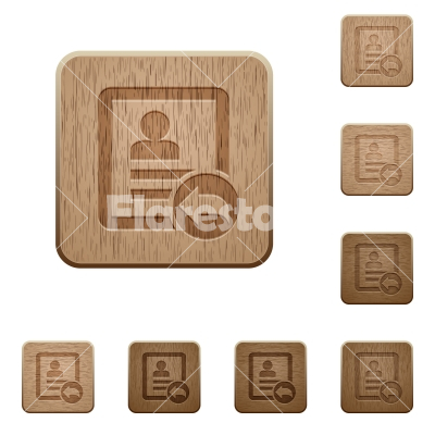 Reply contact wooden buttons - Reply contact on rounded square carved wooden button styles