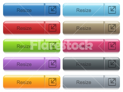 Resize captioned menu button set - Set of resize glossy color captioned menu buttons with engraved icons
