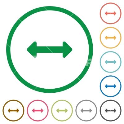 Resize horizontal outlined flat icons - Set of resize horizontal color round outlined flat icons on white background