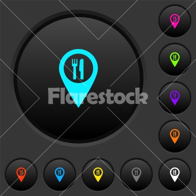 Restaurant GPS map location dark push buttons with color icons - Restaurant GPS map location dark push buttons with vivid color icons on dark grey background - Free stock vector