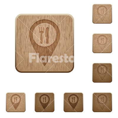 Restaurant GPS map location wooden buttons - Restaurant GPS map location on rounded square carved wooden button styles