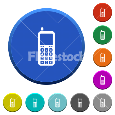 Retro mobile phone beveled buttons - Retro mobile phone round color beveled buttons with smooth surfaces and flat white icons