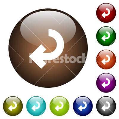 Return arrow color glass buttons - Return arrow white icons on round color glass buttons