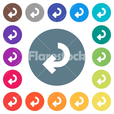 Return arrow flat white icons on round color backgrounds - Return arrow flat white icons on round color backgrounds. 17 background color variations are included.