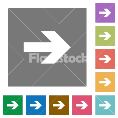 Right arrow square flat icons - Right arrow flat icon set on color square background.