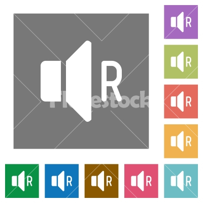 Right audio channel square flat icons - Right audio channel flat icons on simple color square backgrounds
