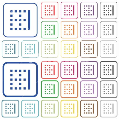 Right border outlined flat color icons - Right border color flat icons in rounded square frames. Thin and thick versions included.