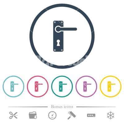 Right handed door handle with screws flat color icons in round outlines - Right handed door handle with screws flat color icons in round outlines. 6 bonus icons included.
