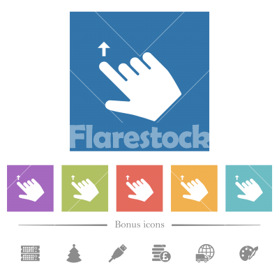 Right handed move up gesture flat white icons in square backgrounds - Right handed move up gesture flat white icons in square backgrounds. 6 bonus icons included.