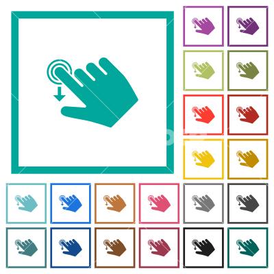 Right handed slide down gesture flat color icons with quadrant frames - Right handed slide down gesture flat color icons with quadrant frames on white background