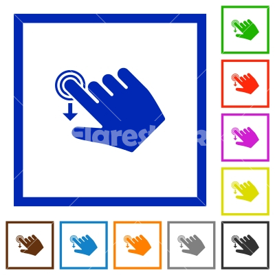 Right handed slide down gesture flat framed icons - Right handed slide down gesture flat color icons in square frames on white background