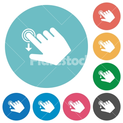 Right handed slide down gesture flat round icons - Right handed slide down gesture flat white icons on round color backgrounds