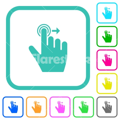 Right handed slide right gesture vivid colored flat icons - Right handed slide right gesture vivid colored flat icons in curved borders on white background