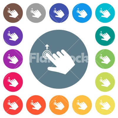 Right handed slide up gesture flat white icons on round color backgrounds - Right handed slide up gesture flat white icons on round color backgrounds. 17 background color variations are included.