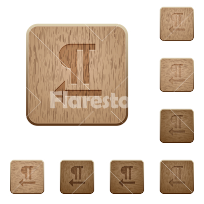 Right to left text direction wooden buttons - Right to left text direction on rounded square carved wooden button styles
