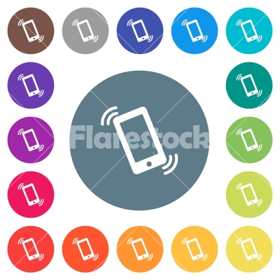 Ringing phone flat white icons on round color backgrounds - Ringing phone flat white icons on round color backgrounds. 17 background color variations are included.