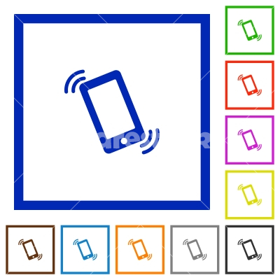Ringing phone framed flat icons - Set of color square framed Ringing phone flat icons on white background