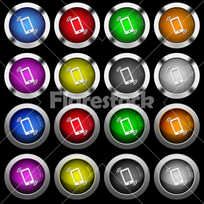 Ringing phone white icons in round glossy buttons on black background - Ringing phone white icons in round glossy buttons with steel frames on black background. The buttons are in two different styles and eight colors.