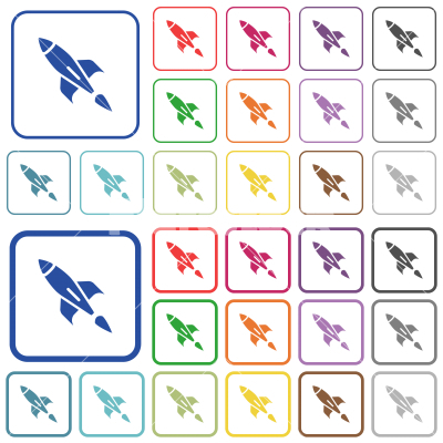 Rocket outlined flat color icons - Rocket color flat icons in rounded square frames. Thin and thick versions included.