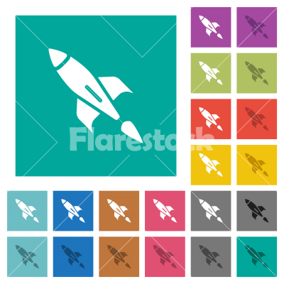 Rocket square flat multi colored icons - Rocket multi colored flat icons on plain square backgrounds. Included white and darker icon variations for hover or active effects.