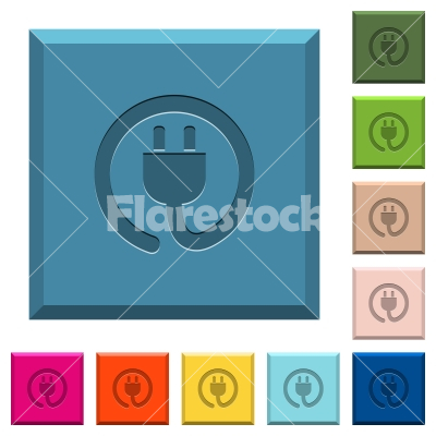 Rolled power cord engraved icons on edged square buttons - Stock ...