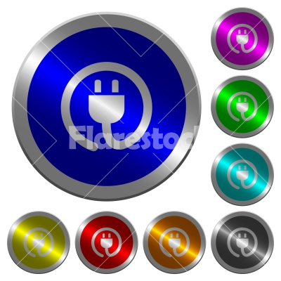 Rolled power cord luminous coin-like round color buttons - Rolled power cord icons on round luminous coin-like color steel buttons