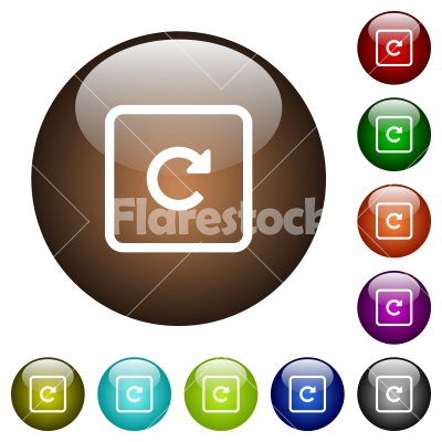 Rotate object right color glass buttons - Rotate object right white icons on round color glass buttons