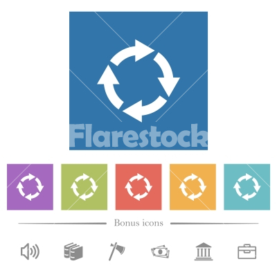 Rotate right flat white icons in square backgrounds - Rotate right flat white icons in square backgrounds. 6 bonus icons included.