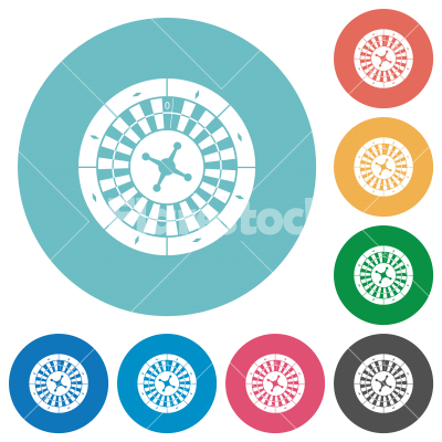 Roulette wheel flat round icons - Roulette wheel flat white icons on round color backgrounds