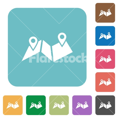 Route plan rounded square flat icons - Route plan white flat icons on color rounded square backgrounds