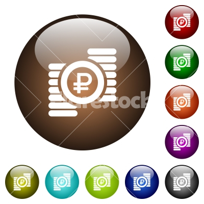 Ruble coins color glass buttons - Ruble coins white icons on round color glass buttons
