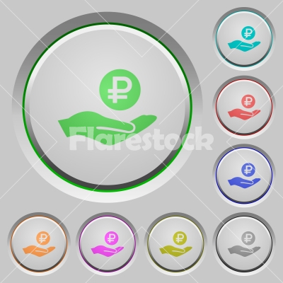 Ruble earnings push buttons - Ruble earnings color icons on sunk push buttons