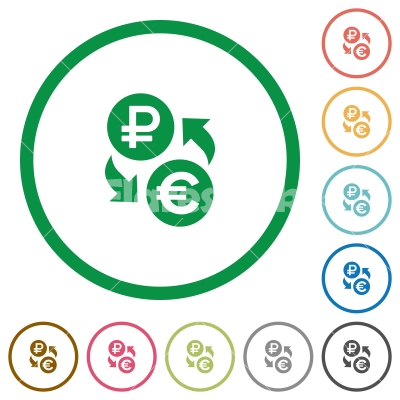 Ruble Euro money exchange flat icons with outlines - Ruble Euro money exchange flat color icons in round outlines on white background