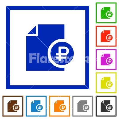 ruble financial report flat framed icons stock vector flarestock